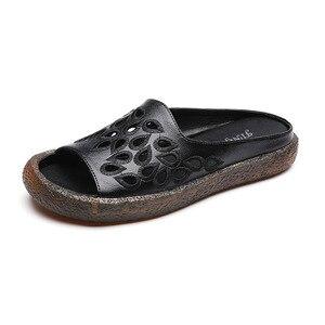 Image 5 - GKTINOO 2020 여성을위한 정품 가죽 플립 플롭 샌들 여름 신발 우아한 플랫 힐 패션 야외 슬라이드 여성 슬리퍼