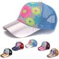 Brilho do sol de verão cap net fresco snapback chapéus de sol cap malha Girassol Lantejoula Malha de Beisebol casquette Trucker Caps Para As Mulheres