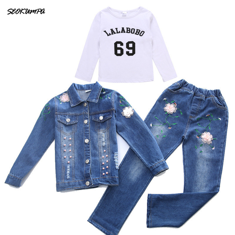 Autumn Spring School Girls Denim Clothing Set Jean Jacket+Denim Pants Jeans 3pcs Children Girls Denim Suit Kids Clothing Set school style designer blue jeans men loose straight denim pants high quality superably brand clothing mens buttons jeans 14113