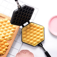 Non stick Bubble Egg Waffle Cone Maker Mould Gofrera Iron Aluminum Alloy Dessert Cake Baking Pan Tool Double Side Bakeware Gas