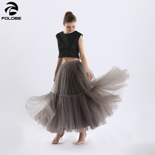 купить FOLOBE Women Elegant Black Mesh Tulle Pleated Panelled Long Skirt Sweet Girl Tutu Skirt Elastic High Waist Maxi Skirt YFS040155 онлайн