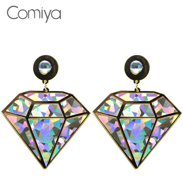 Comiya Rhinestone Geometric Steampunk Hip Hop Women Big Drop Earrings Brincos De Ouro Bijoux Femme Earrings Fashion Punk