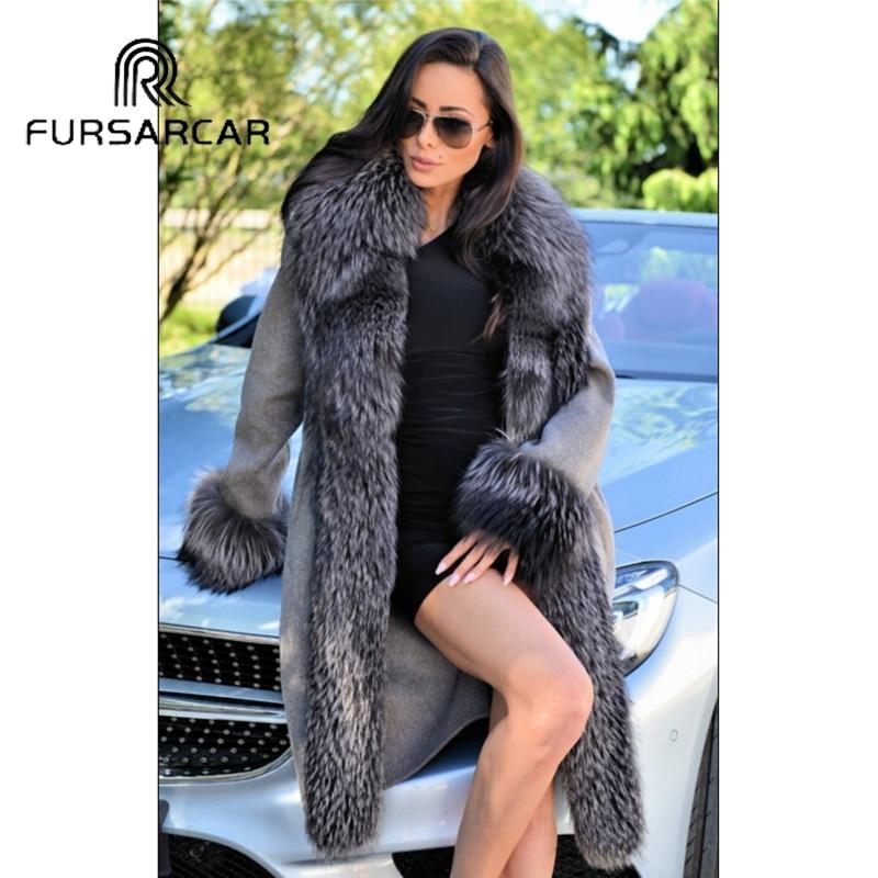 FURSARCAR 100 см Длина натуральным мехом пальто Для женщин Зима Новое поступление шерстяная куртка с длинным Silver Fox меховой воротник и манжеты