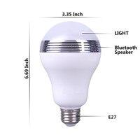 RGBW Intelligent Portable Smart E27 LED Light Bulb Bluetooth Speaker Music Player Dimmable Night Lamp Via