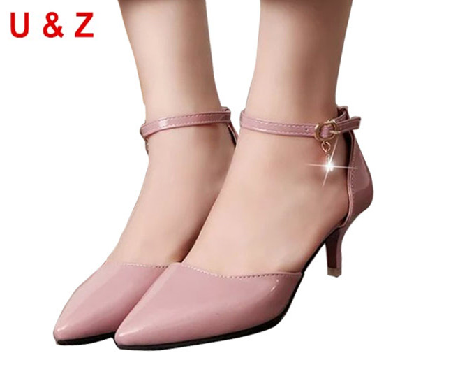 fa55bb4e174 Lovely pointy toe patent leather kitten heels(Nude Grey Red)young ladies  shoes