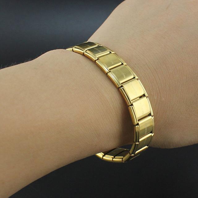 hapiship 2018 мода для мужчин для женщин ювелирные изделия 13 мм ширина цвета: золотистый, серебристый письмо нержавеющая сталь 20 ссылки браслет для друга g003