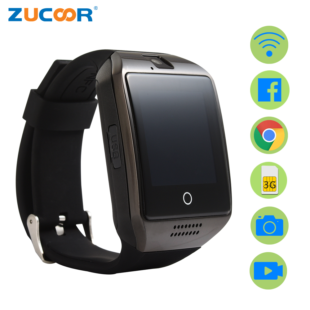 Smart <font><b>Watch</b></font> Smartwatch Android Clock Q18 Plus <font><b>Support</b></font> <font><b>SIM</b></font> Card 3G GPS WiFi <font><b>Pedometer</b></font> Facebook Google <font><b>Sport</b></font> Activity Wristwatch