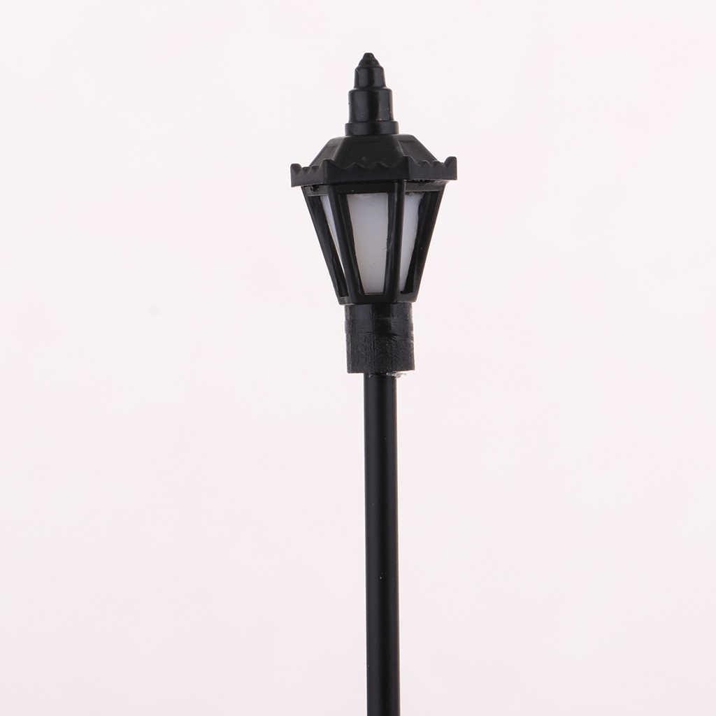 MagiDeal 20 sztuk 1:100 modelu kolejowej lampy uliczne światła HO OO skala LED