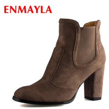 ENMAYLA Autumn Winter Chelsea Ankle Boots for Women Faux Suede Square Toe High Heels Shoes Woman Chunky Khaki Black