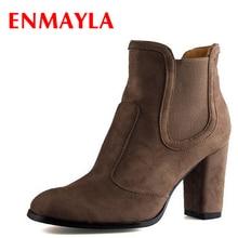 лучшая цена ENMAYLA Autumn Winter Chelsea Ankle Boots for Women Faux Suede Square Toe High Heels Shoes Woman Chunky Heels Boots Khaki Black