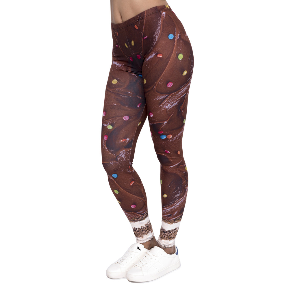 Fashion Design Women Legging Chocolate Cake Printing Leggings Slim Cozy High Waist Woman Pants