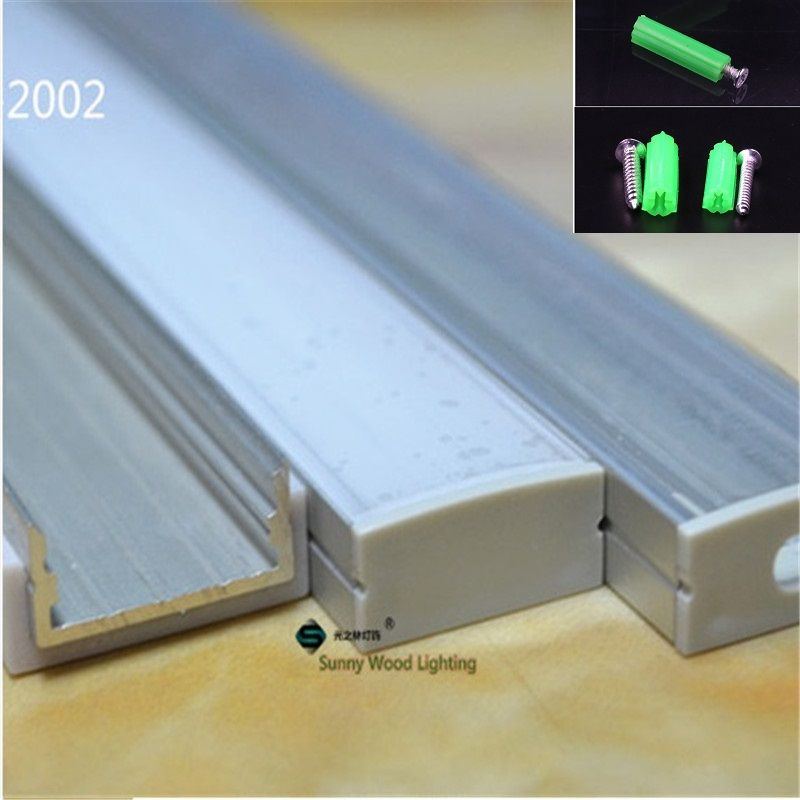 Image 3 - 5 30pcs/lot 40inch 1m flat aluminum profile for double row led strip,milky/transparent cover channel for 20mm pcb with fittings-in LED Bar Lights from Lights & Lighting