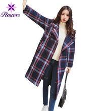 ecb18a0ea 2018 Nova Outono Inverno Casaco De Lã Das Mulheres Coreano Xadrez Longa Plus  Size Solto Engrosse Vintage Turn-down Collar da Mul.
