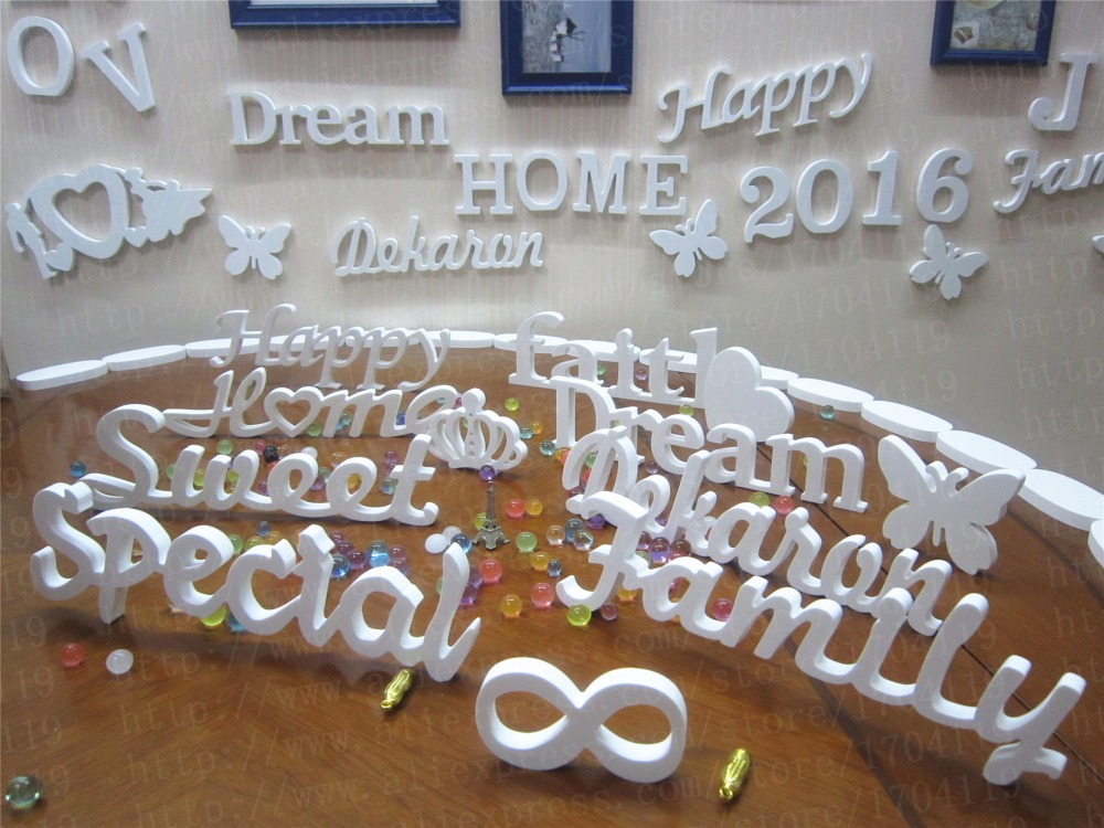 Newest wall decoration artificial wood letters wedding decoration newest wall decoration artificial wood letters wedding decoration conjoined letter diy heart shape butterfly crown diamond ring in figurines miniatures ppazfo
