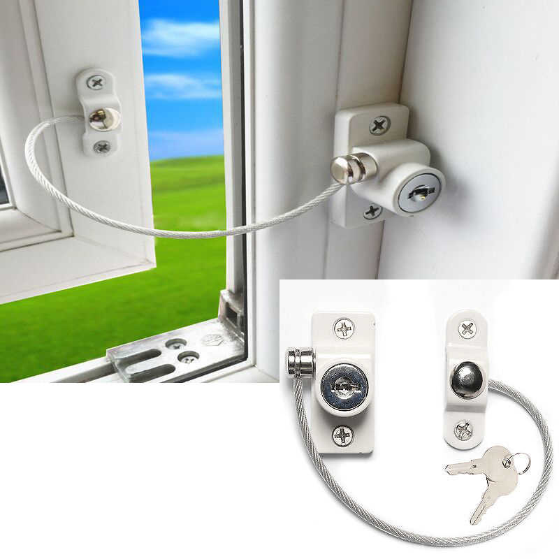 No Screws Required for Preventing Your Window from Damage Limiter Child Baby Security Lock Cable Window Restrictors Baby Safety with Security Lock Window Restrictor Safety Door
