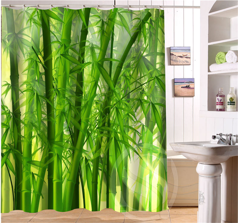 Free Shipping Bamboo Custom Shower Curtain MORE SIZE beautiful Fabric Shower Curtain for Bathroom SQ0427-LQ31