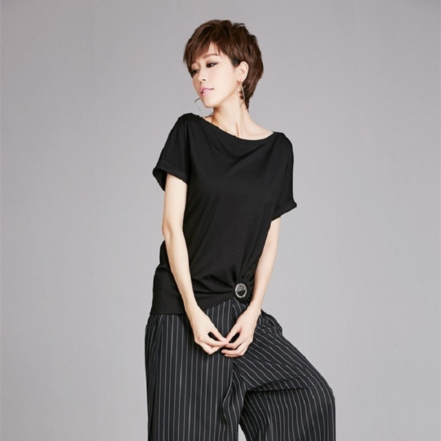 808a76cc68c94 ASYMSAY European Summer Style Loose Slash Neck Solid Black Tee Shirt Split  Joint Irregular Pleated Tops Tshirt Women AC8150-in T-Shirts from Women's  ...