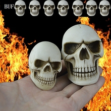 BUF Resin Craft Halloween Decoration Small Skull Statues Creative Bar Decoration Skull Statue Sculpture Art Sketch Model creative ox horn decor knight skull model resin craft