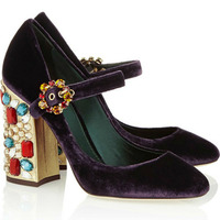 New Women Shoes Crystal Flower Studded Buckle High Heels Multi Color Velvet Chunky Heels Pumps Zapatos