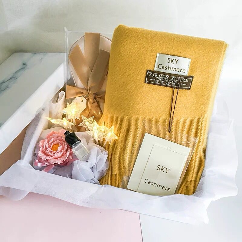 1set return gifts for wedding high grade birthday gifts box gift bag bridesmaid best man eye mask pink winter scarf Men bow tie