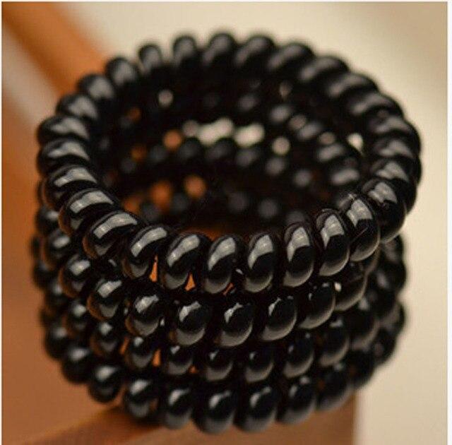 1 Pza/lote mujeres señoras chicas bandas de pelo nuevo negro elástico goma teléfono estilo lazos de pelo y cuerda de plástico accesorios