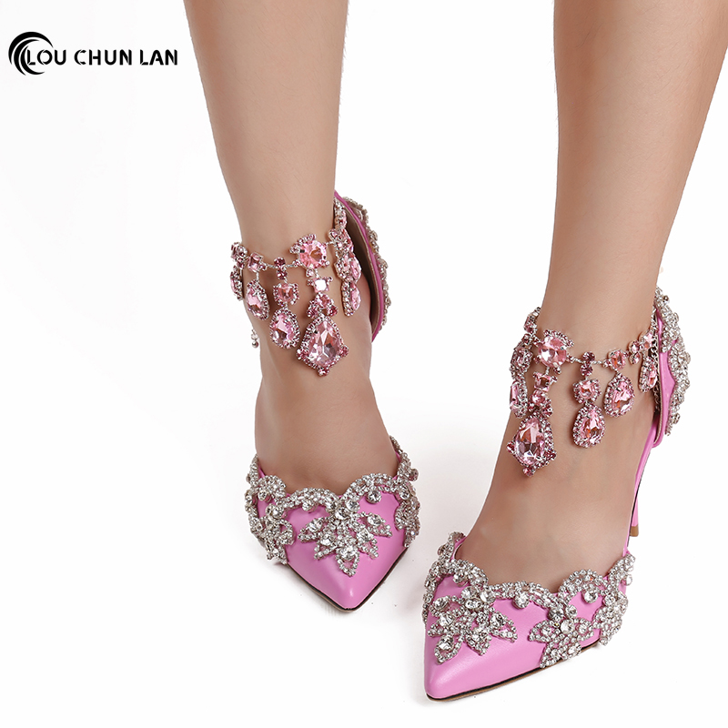 Pointed toe Rhinestone ultra High Heels Wedding Shoes banquet Formal Dress Shoes Crystal tassel bracelet female Sandals 9cm Heel