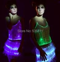 2017 модные Волоконно Оптический индикатор системы Световой Производительность Танцевальный костюм комплекты RGB светодиодной вспышкой топ +