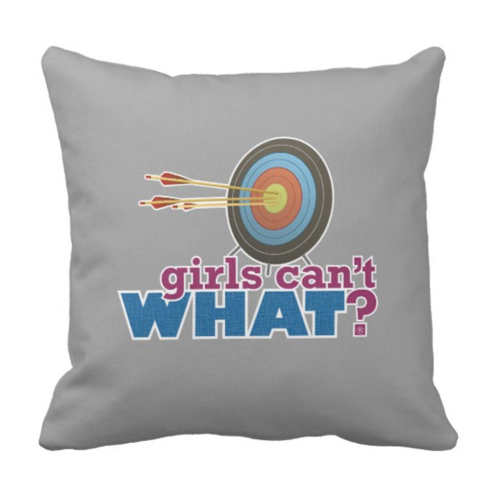 Throw Pillow Cover Girl ArcheryTarget Woman Female Lady Sports Hunting Decorative Pillow Case Home Decor Square 20 x 20 Inch Pi