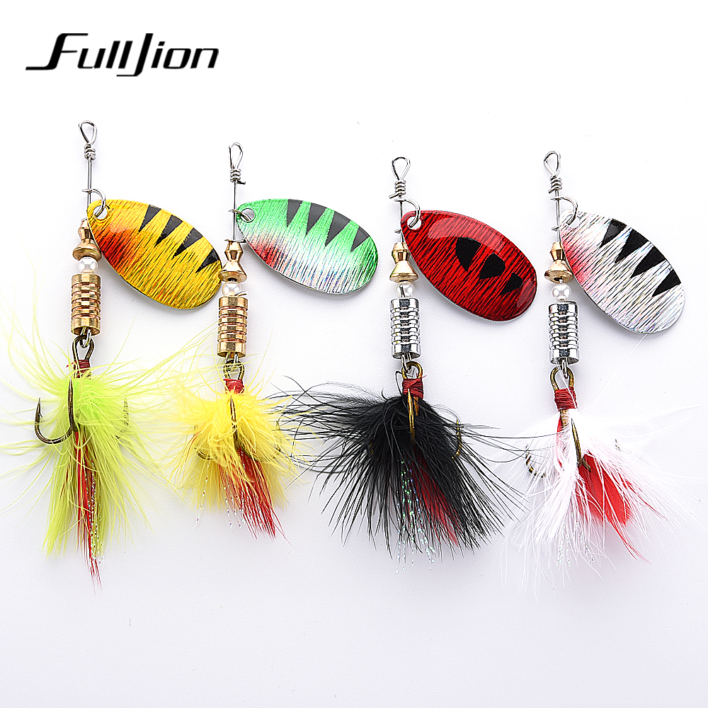 все цены на Fulljion Spinner Fishing Lures Sequin Spoon Wobbers Hand Baits CrankBait Bass For Fishing Tackle With Feather Hooks Pesca онлайн