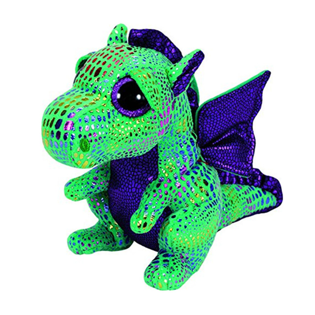 15CM TY Beanie Boos The Green Dragon Beanie Babies Plush Stuffed Doll Toy Collectible Soft Big Eyes Plush Toys