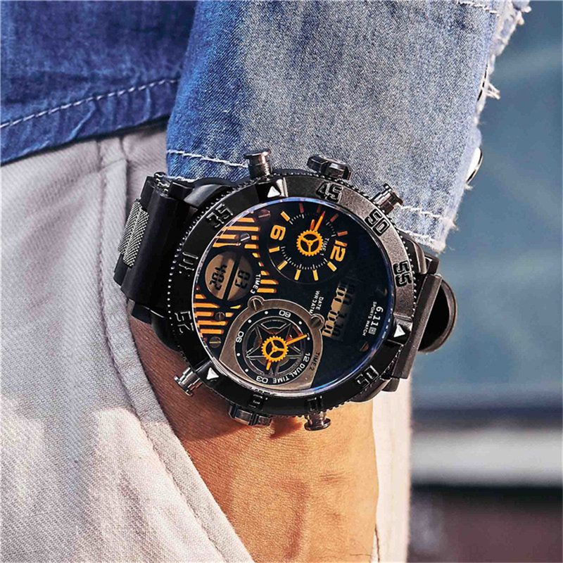 New Fashion Big Dial Men Watches Sport Quartz Led Multiple Time Zone Creative Watches Digital Watch Waterproof Relogio Masculino weide casual luxury genuin new watch men quartz digital date alarm waterproof clock relojes double display multiple time zone