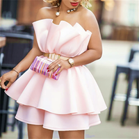 Women Party Dress Mini Sexy Pleated Patchwork Tube Tops Off Shoulder Backless Lady Clubwear Dinner Summer Night Tunic Femme Robe