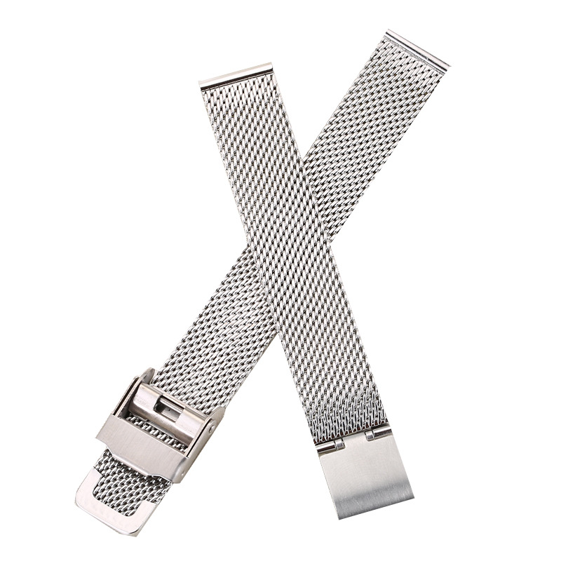 0 6mm Thick Watchband 14mm Silver Stainless Steel Strap Band Replacement Bracelet for Watches in Watchbands from Watches