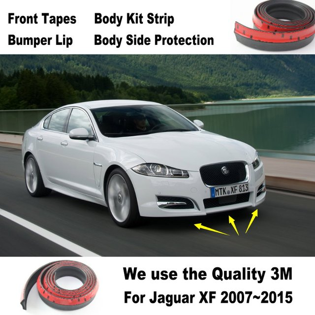 Car Bumper Lips For Jaguar XF 2007~2015 / Spoiler Tuning Body Kit Strip  Front Tapes Chassis Side Protection