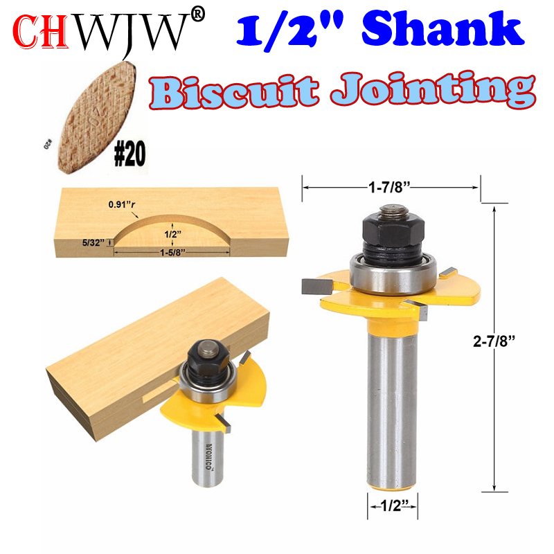 1 pc 1/2 Shank Biscuit #20 Slotting 5/32x1/2 Joint Assembly Router Bit Wood Cutting Tool woodworking router bits- Chwjw 14182 1 pc straight dado router bit 3 4w x 3 4h 1 2 shank woodworking cutter wood cutting tool chwjw 14955