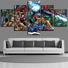 High Quality Canvas Printed  Film Animation Poster 5 Pieces Cartoon Superheroes Painting Home Decor Wall Art Picture Framework