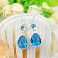 2Pairs 1 Lot New Cheap Wholesale Silver Plated Jewelry Pearl Sky Blue Created Topaz Drop Dangle Earrings