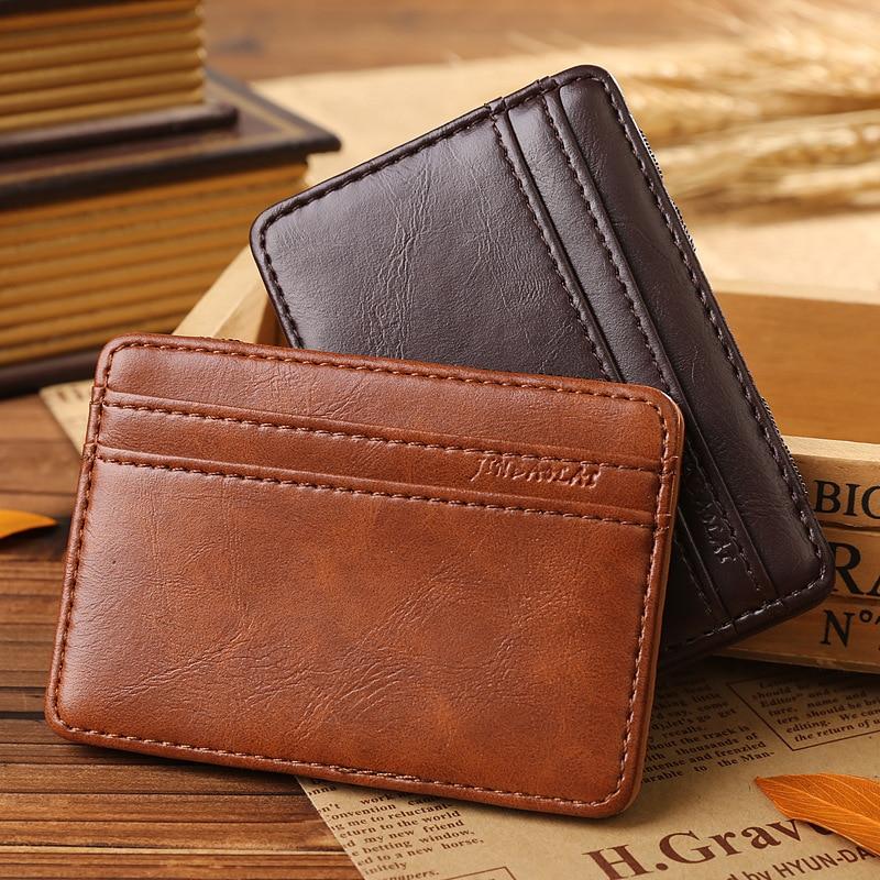 Chic Leather Magic Money Clip Slim Men Magnet Wallet ID Credit Card Holder Case