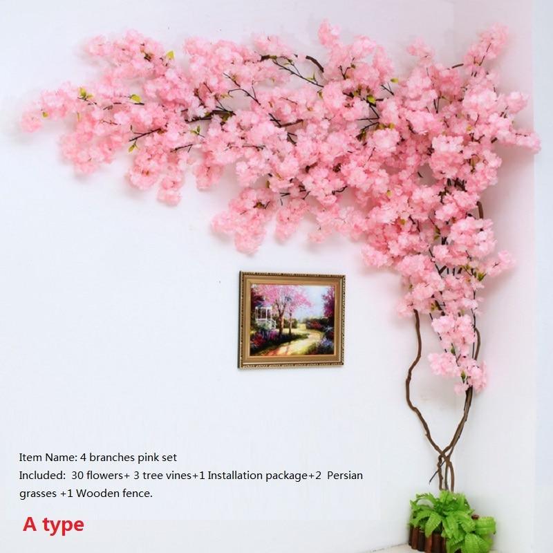 Artificial Cherry Blossom Tree Wall Pipe Interior