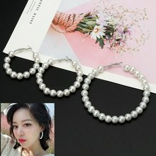 2019 new Elegant White Pearls Hoop Earrings Women Multiple Pearls Circle Earrings Fashion Jewelry(China)