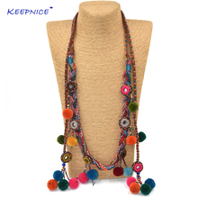 Colthing Accessories Bohemian Pompoms Charm Long Beaded Chains Necklace Handmade Velvet Ball Pompous Tassel Boho Maxi Necklace