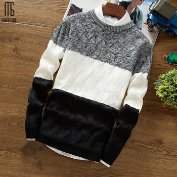 Manoswe Casual Long Sleeve Autumn Winter Sweater Men Korean Style Slim Knitted Blue Sweater Pullover Jumper Fashion Christmas 1