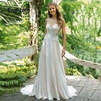Eightale Simple Boho Wedding Dress 2019 Scoop Appliques Chiffon Princess Vintage Bride Dress Lace Wedding Gowns Free Shipping