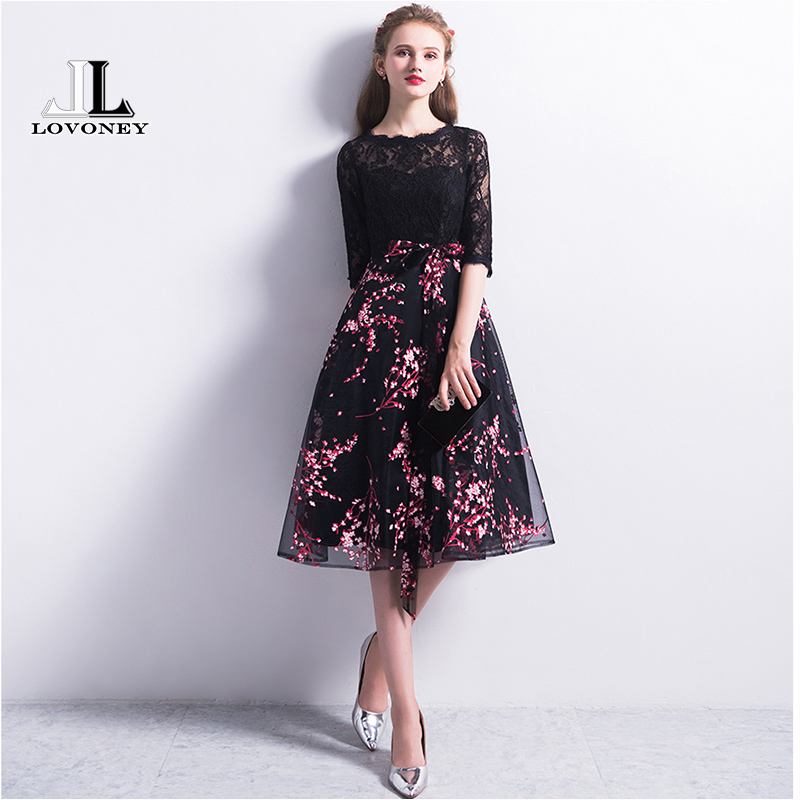 LOVONEY Robe De Soiree 2019 New Arrival Short Lace   Evening     Dress   with Half Sleeves Formal   Dress     Evening   Party Gown YM308