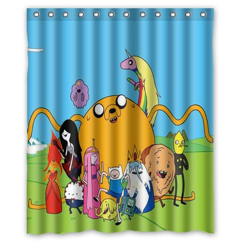 Adventure Cartoon Beemo Time Moden Custom Shower Curtain Bathroom Decor Free Shipping 36x72 48x72 60x72 66x72