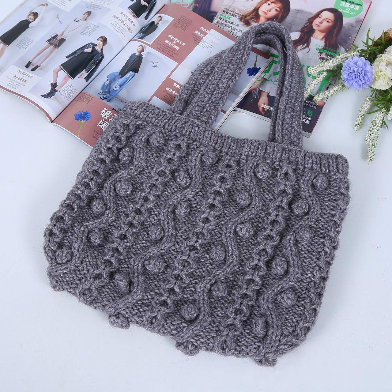 Manufacturers custom-made Korean fashion shoulder bag wool bags handmade knit handbags Messenger bag Japanese shoulder bag custo