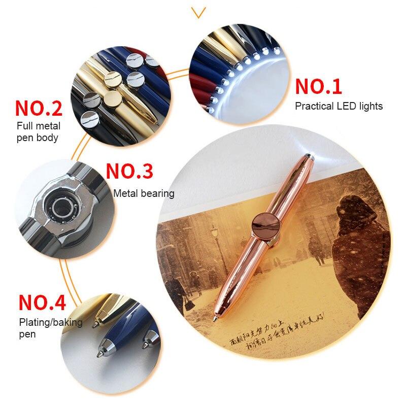 Finger Gyro Leisure Toys Fidget Spinner Multi Function Gyroscope Pen Decompression Light  LED Lamp Ball Point Pen Relieve Stress