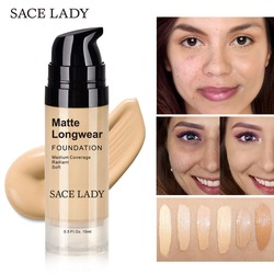 SACE LADY Foundation Base Makeup Professional Face Matte Finish Liquid Make Up Concealer Cream Waterproof Brand Natural Cosmetic