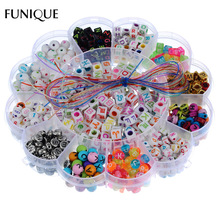 FUNIQUE Kid Beads Kit Set Findings For Jewelry Making Girl Toy Mix Color Spacer Acrylic Beads With Box For Children DIY Bracelet