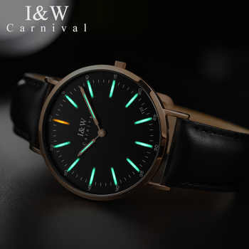 CARNIVAL 2018 Fashion simple Ultrathin Men watch High end Tritium luminous Quartz Watch with Swiss movement Sapphire Waterproof